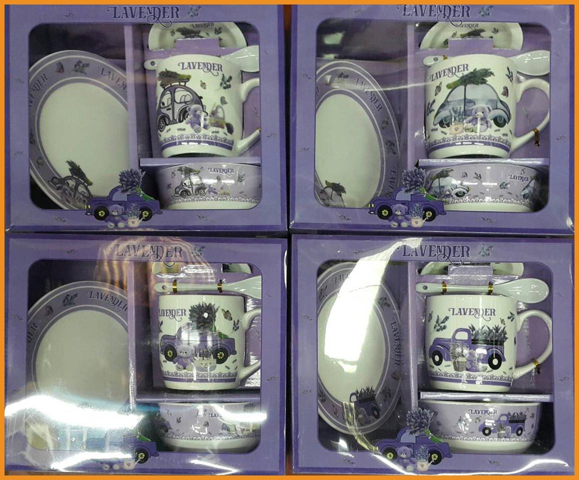 ชุดเซตแก้วพร้อมถ้วย ช้อนและจานรองแก้ว ลายดอกลาเวนเดอร์ 2
