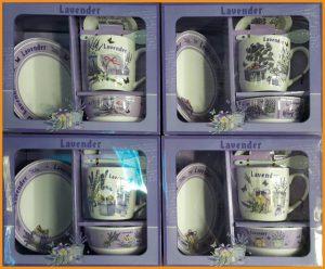 ชุดเซตแก้วพร้อมถ้วย ช้อนและจานรองแก้ว ลายดอกลาเวนเดอร์