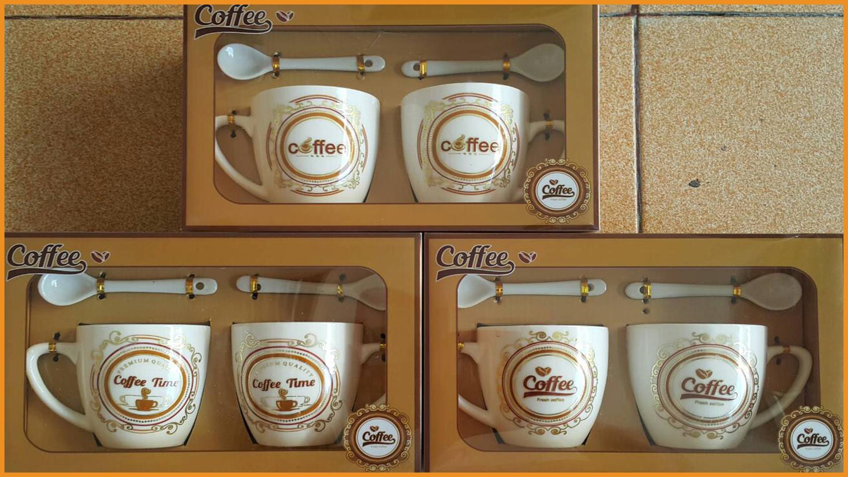 ชุดแก้วกาแฟคู่พร้อมช้อนลวดลายพร้อมกล่องลายกาแฟ รุ่นเล็ก 3
