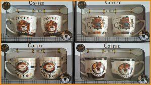 ชุดแก้วกาแฟคู่พร้อมช้อนลวดลายพร้อมกล่องลายกาแฟ รุ่นเล็ก