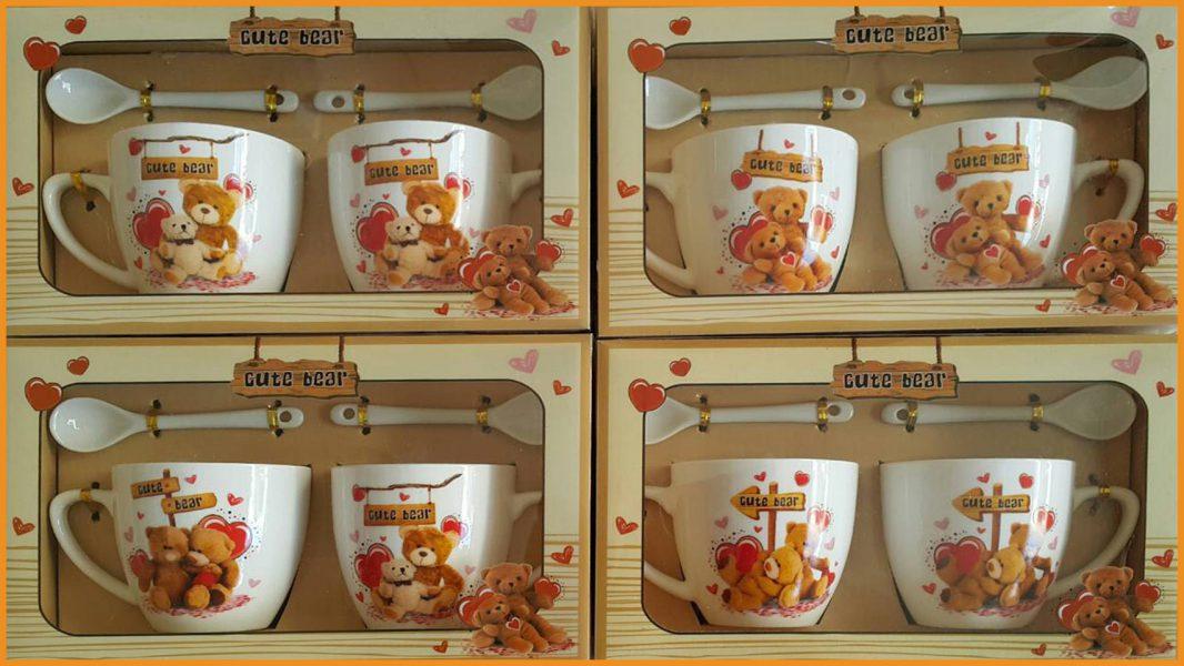ชุดแก้วกาแฟคู่พร้อมช้อนลวดลายพร้อมกล่องลายหมีคู่ รุ่นเล็ก