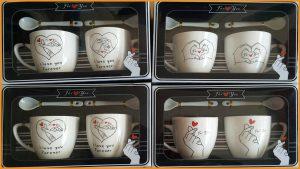 ชุดแก้วกาแฟคู่พร้อมช้อนลวดลายพร้อมกล่องลายหัวใจ รุ่นเล็ก