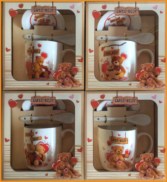 ชุดแก้วเดี่ยว,ช้อนและจานรองแก้วพร้อมกล่องลายหมี 2