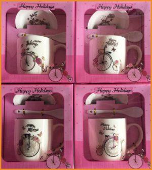ชุดแก้วเดี่ยว,ช้อนและจานรองแก้วพร้อมกล่องลายจักรยาน
