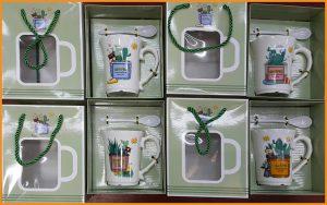 ชุดแก้วทรงยาวพร้อมช้อนและกล่องแบบถุงกระดาษ